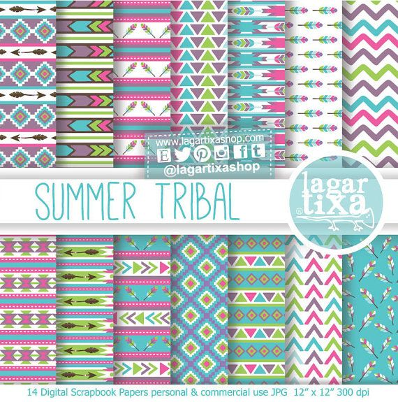 #Tribal #aztec #african #patterns #digitalpaper pale purple pink yellow por LagartixaShop, $4.00