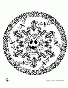 skellington mandala1 231x300 and five other halloween mandala coloring pages