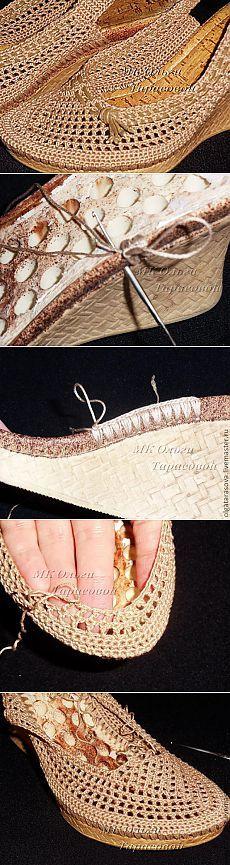 Restauración de calzado, sandalias tejidas -