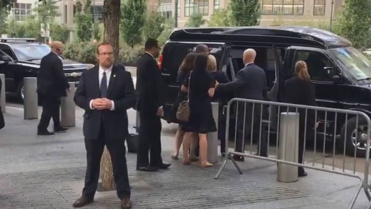 Zoomed into Hillary Clinton's foot shows she out cold  ::   Opie Radio A close up of Hillary Clinton's collapse shows her legs unresponsive and dragging on the ground