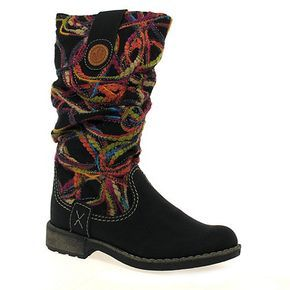 The Rieker Thread are western-inspired mid-calf boots, with a slouched upper wrapped in a woven multi-coloured wool design and finished with contrasting stitched detail.
