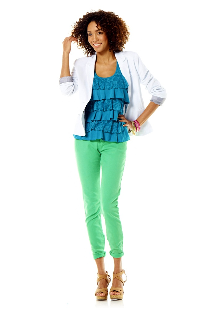 Kelso Blazer, top and coloured denim