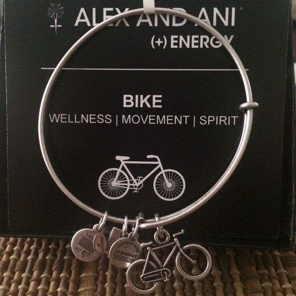 http://www.fashiontrendwebsites.com/category/alex-and-ani/ Authentic Alex & Ani Silver Bike Charm Bracelet Authentic Alex & Ani silver bicycle charm bracelet new with tag and card. A black box is provided. Alex & Ani Jewelry Bracelets