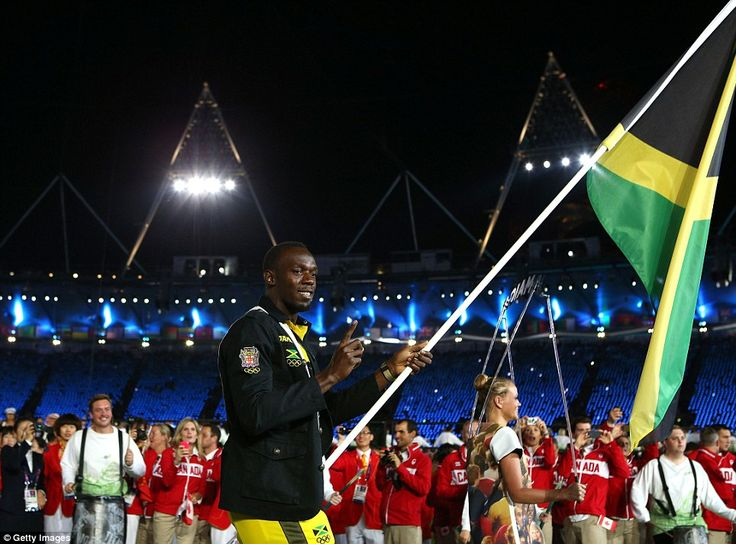 Jamaican sprint sensation Usain Bolt had the privilege of carrying his country's flag in the parade. Bolt will be defending his 100m and 200m titles in London
