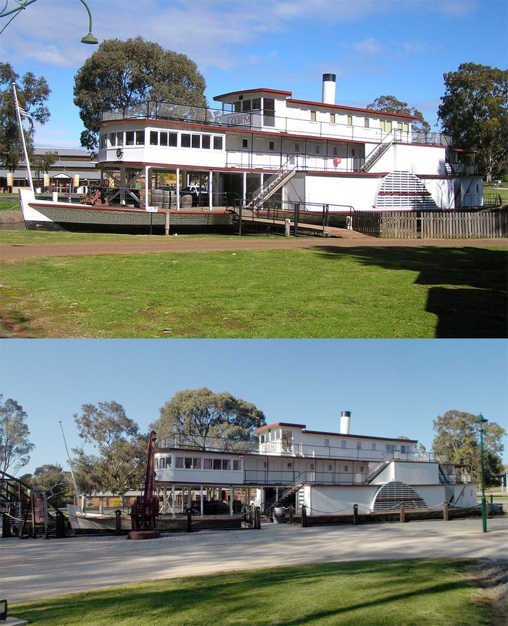 Top - PS Gem soon after fresh paint in 2010; bottom today with new wharf and interpretation infrastructure in place. At Pioneer Settlement, Swan Hill, Victoria