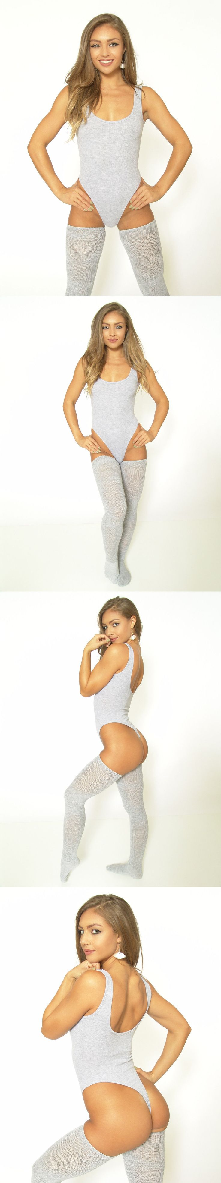 Leotards and Unitards 152365: New Gray! Teezees Rib-Knit Thong Leotard W Cotton Crotch Lining -> BUY IT NOW ONLY: $35.99 on eBay!