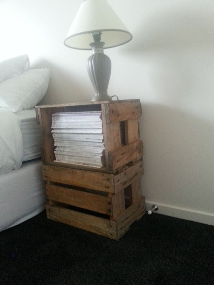 Bedside Table! 2 Swappa Crates, 4 Screws, and some magazines!