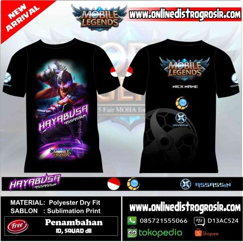 Kaos Mobile Legend Hero- HAYABUSA | Distro Custom Apparel