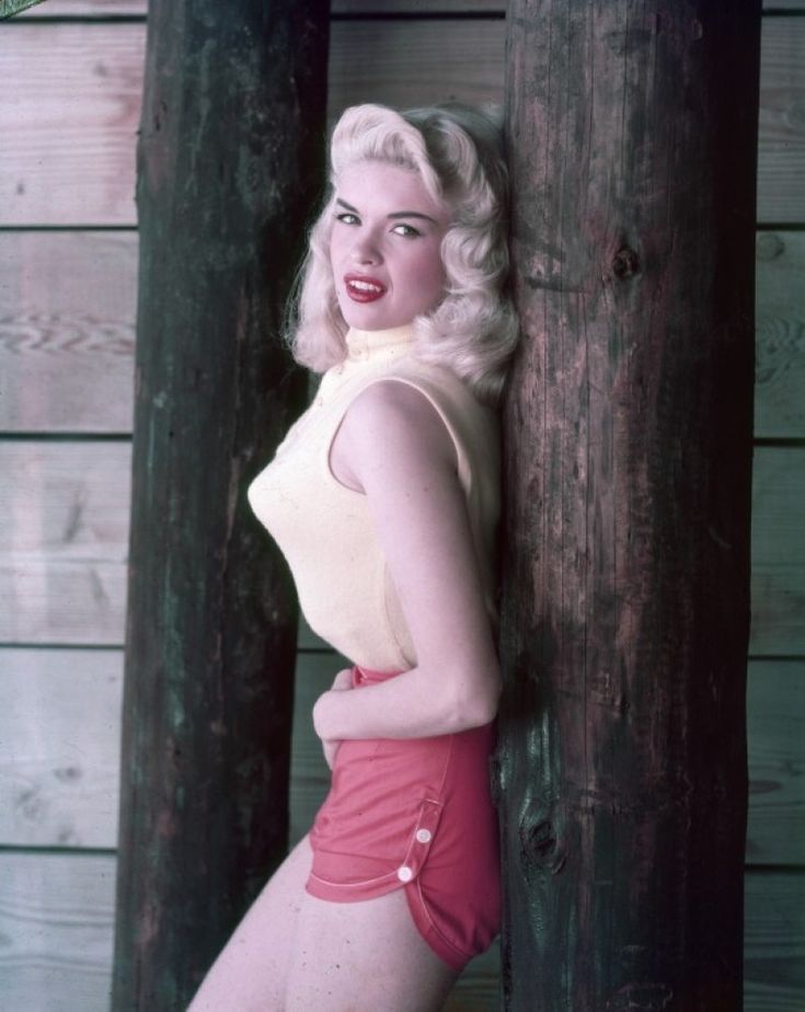 Jayne Mansfield, 1950s  Can't quite figure out what's going on with her body profile...