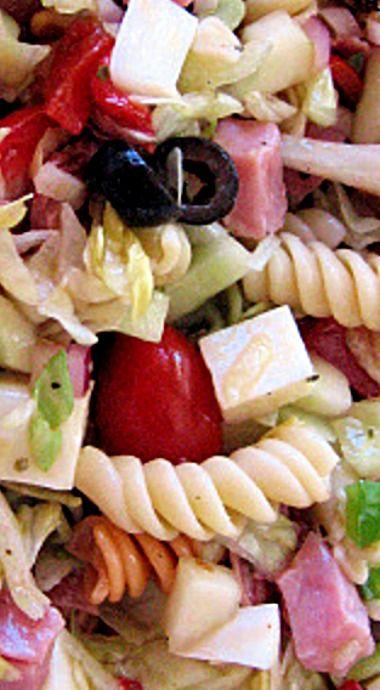 Italian Sub Pasta Salad - Tastes like an Italian sub.... but it's a salad. Especially nice for potlucks, parties and picnics! ❊
