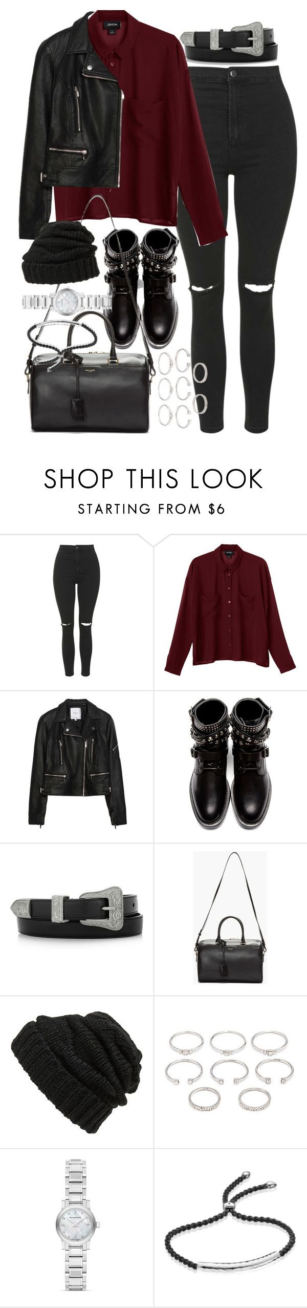 """Outfit with a leather jacket for winter"" by ferned ❤ liked on Polyvore featuring Topshop, Monki, Zara, Yves Saint Laurent, Leith, Forever 21, Burberry and Monica Vinader"