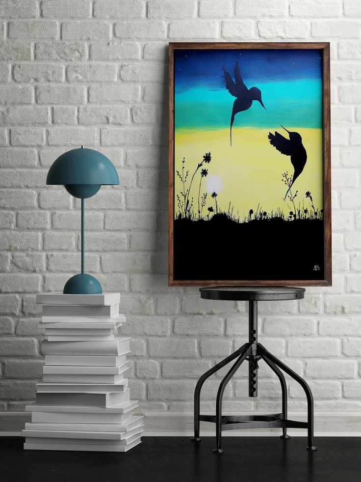 For sale: Acrylic original painting SUNRISE, beautiful home decor, birds, sunrise, spring, flowers