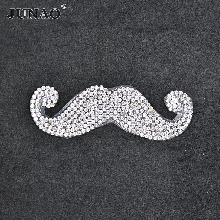 Clear Beard Design Hotfix Rhinestones Motifs Iron On Transfer Patches Strass Crystal Applique For Clothing Craft Decorations #Affiliate