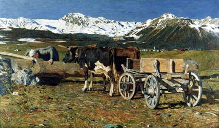 Giovanni Segantini  - Cows at the water trough, 1888