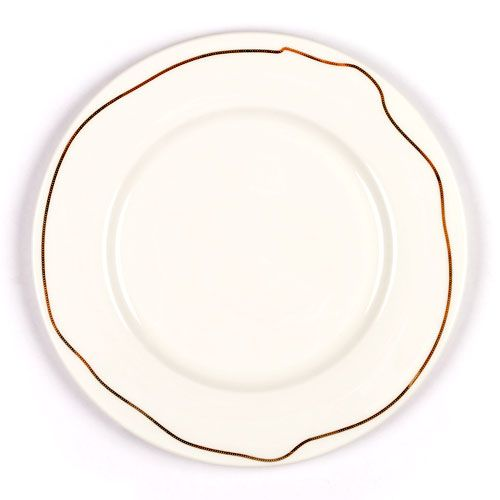 """Chain Dinner Plate Set of 4 by Jason Miller: Not so traditional formal tableware with chains which loosely follow the outline of each plate. Made of bone china, 10.5"""". $80"""