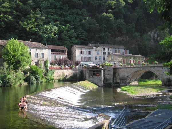 Locals having a swim in the Viaur river, Laguepie, France