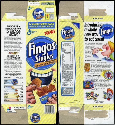 general mills cereal boxes | General Mills - Fingos Singles - cereal snack box - 1993