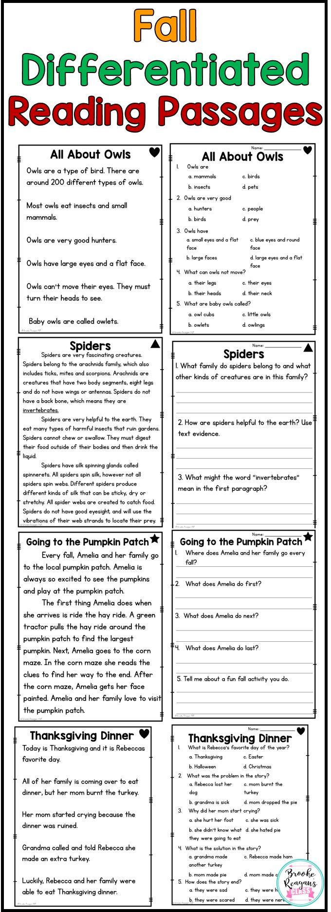 Fall Reading Passages. Differentiated levels to meet your students needs. Perfect for reading comprehension.