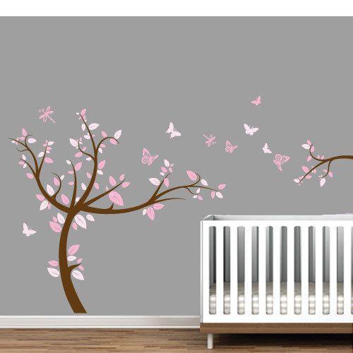 Cute Wandtattoo Wandtattoo Baum Rose Farbig f r Kinder Aufkleber ein Designerst ck von Wall