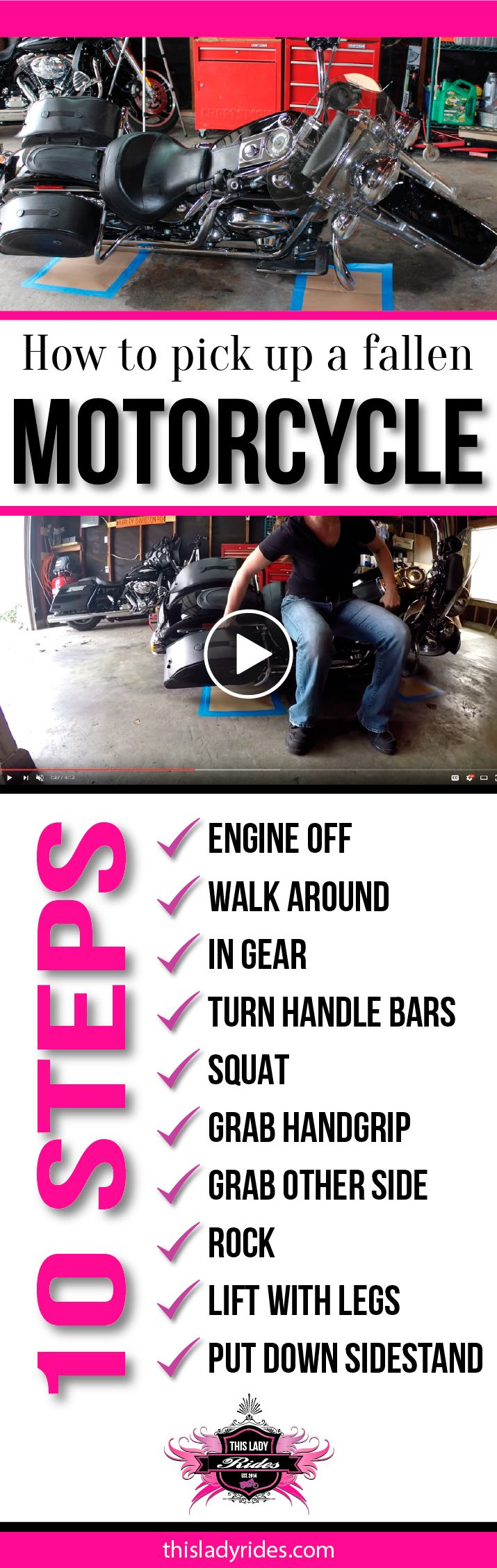 10 Steps to help a lady biker pick up a fallen motorcycle
