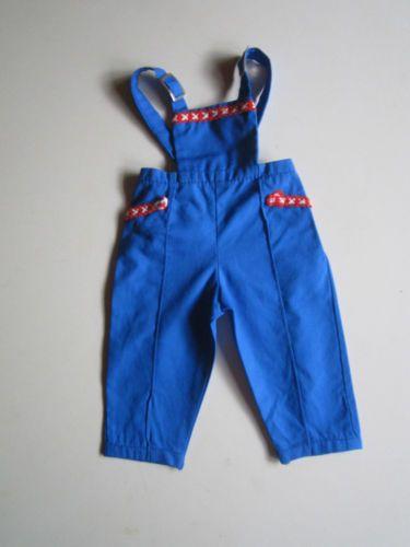 Schoene-alte-Puppenkleidung-Niedliche-blaue-Latzhose