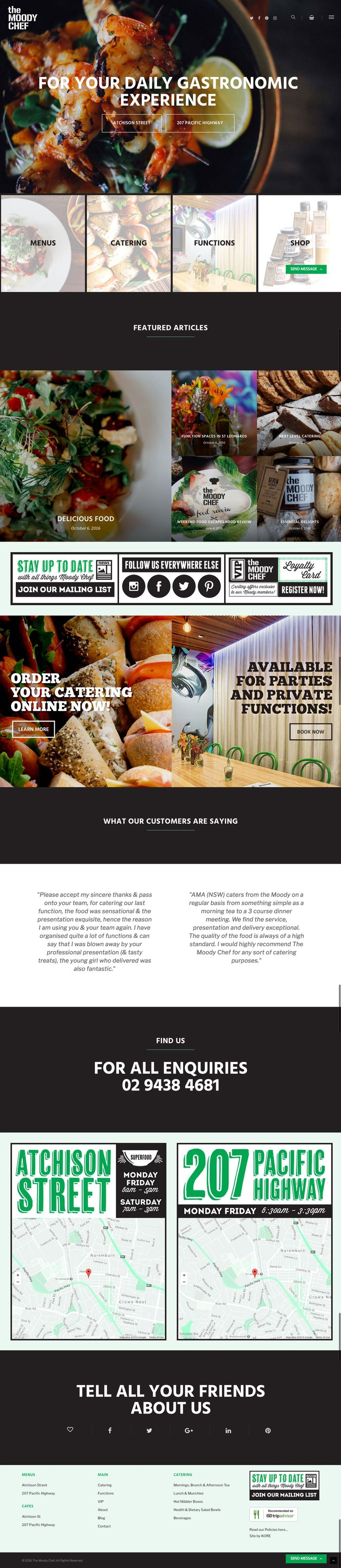 The Moody Chef's new responsive website by KORE (http://kore.digital/). Home page view.