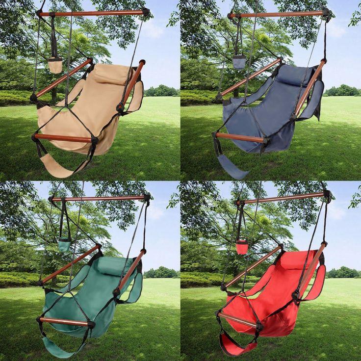 Al aire libre Hamaca cubierta Silla Colgante Aire Deluxe Silla Columpio de Madera Maciza 250lb OP2315