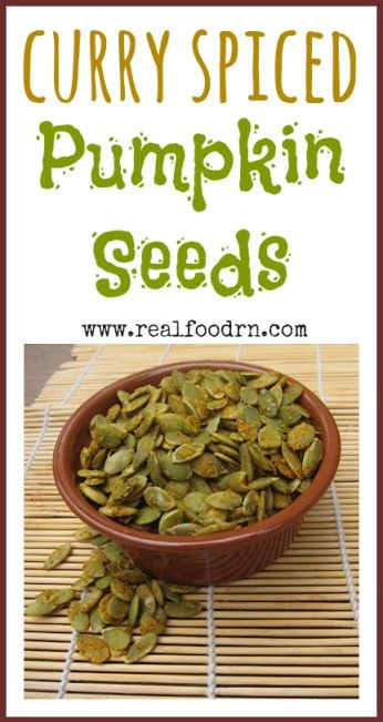 Curry Spiced Pumpkin Seeds. A healthy snack, full of immune boosting zinc. These go great on soups and salads, or as a snack all by themselves. realfoodrn.com