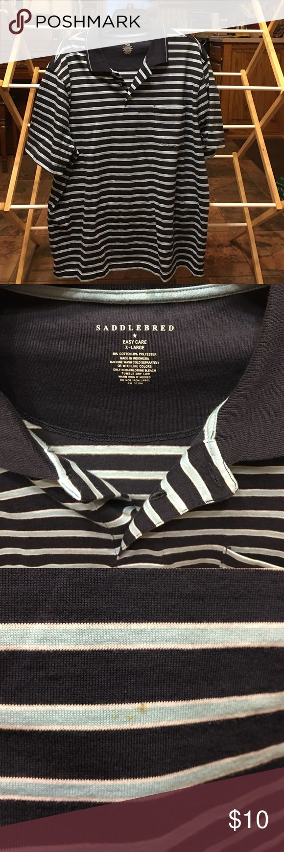 Saddlebred Polo Shirt with pocket XL Saddlebred Polo Shirt with pocket XL, worn once. Navy blue, light blue and white stripe. Very small stain as shown in photo, barely noticeable. Smoke free home. Saddlebred Shirts Polos