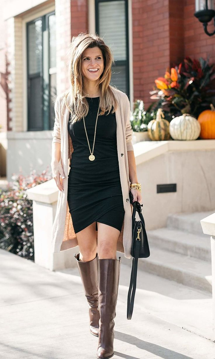 Leith ruched dress, camel cardigan, tall leather brown boots // fall outfit ideas // fall date night ideas
