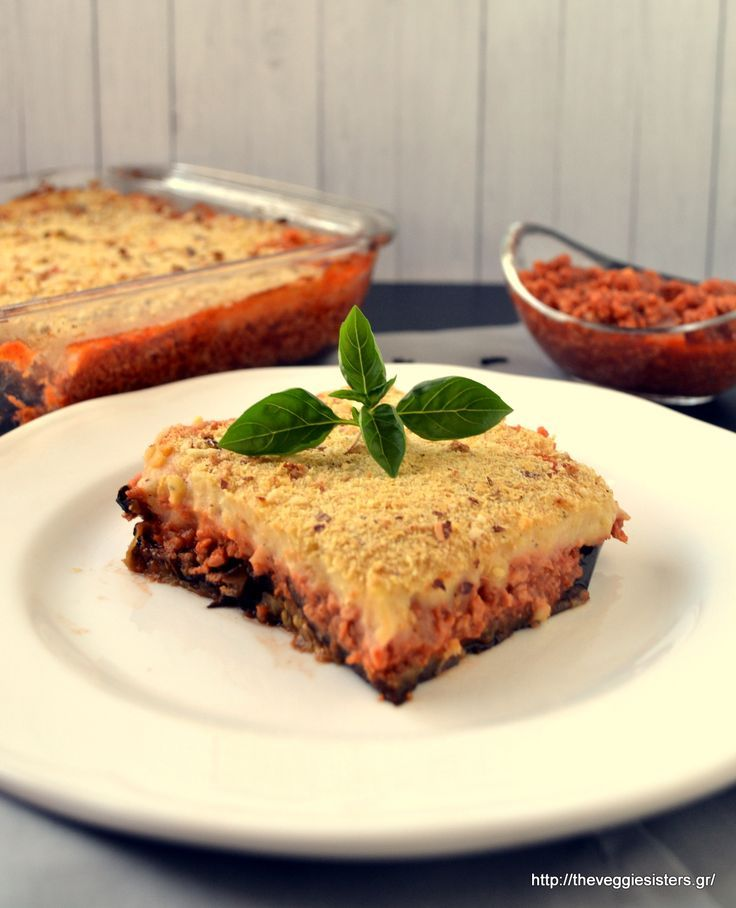 One of the most popular Greek traditional dishes in a veganised version: enjoy our vegan moussaka with spicy soy mince and potato puree. A must try!: