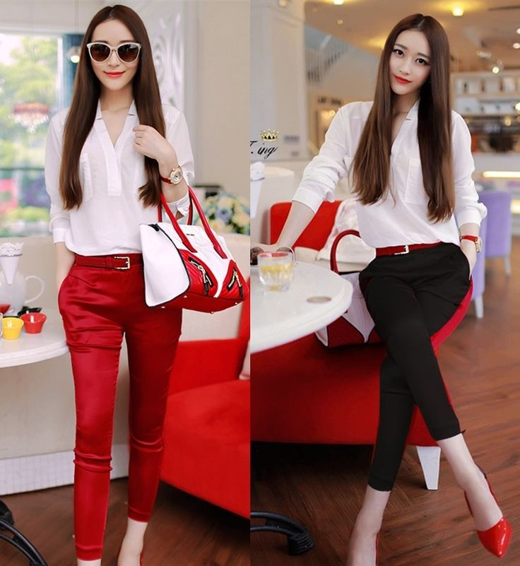 V-neck Long Sleeve Blouse with Skinny Cotton Pants, $38. #Pre-order#Shipping Worldwide. Want to buy it. Contact us, สนใจสั่งซื้อติดต่อเรา.   Store Website : https://yourstylenina.ecwid.com/  , or ID Line:  yourstylenina , or  FB:  https://www.facebook.com/pages/Your-Style/370344776416837