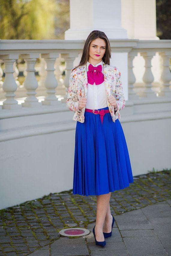 Fuchsia Matte Women's Bow Tie Genuine New Brooch 100% Silk