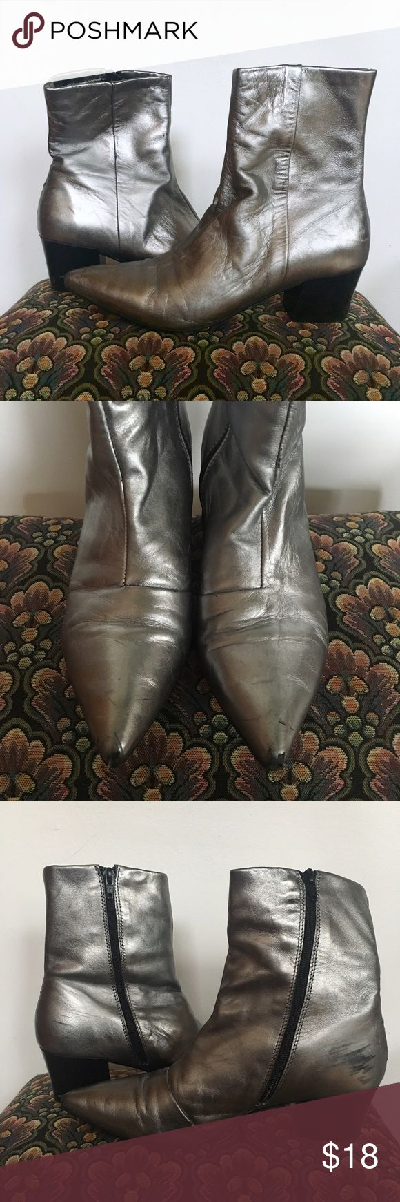 ASOS Leather Chelsea Boots Glam silver leather upper Chelsea boots!! Only worn a couple of times. Super comfy. ASOS Shoes Heeled Boots