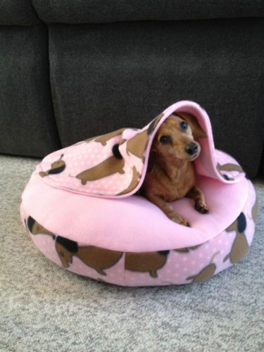 Doxie Small Dog Snuggle Bed for Burrowing Dogs Pink Fleece for Dachshund Rescue | eBay