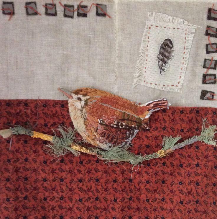 Raggedy Wren. Irish garden bird series. Hand embroidery. www.violetshirran.com