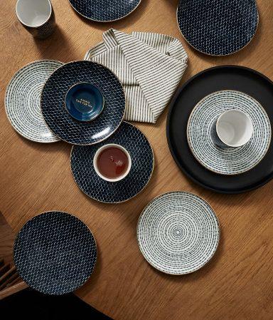 Minifat i porslin | Mörkblå/Vitmönstrad | H&M HOME | H&M SE