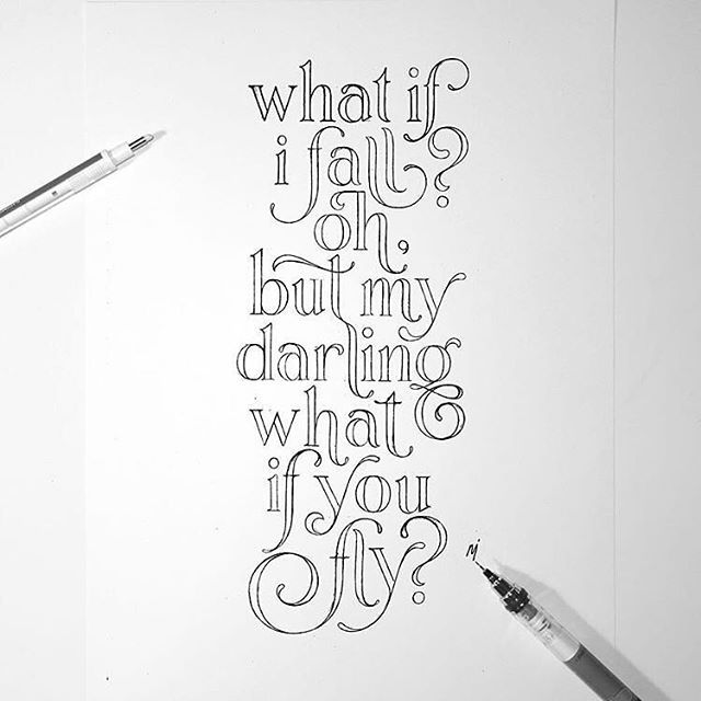 Oh, What if you fly?! Artwork by @novia_jonatan Found this on a Typography and Calligraphy marketplace website, I need it on my wall!!