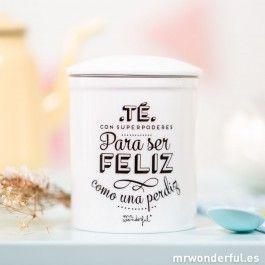 "Taza de té ""Té con superpoderes para ser feliz como una perdiz""  -  Mr. Wonderful"