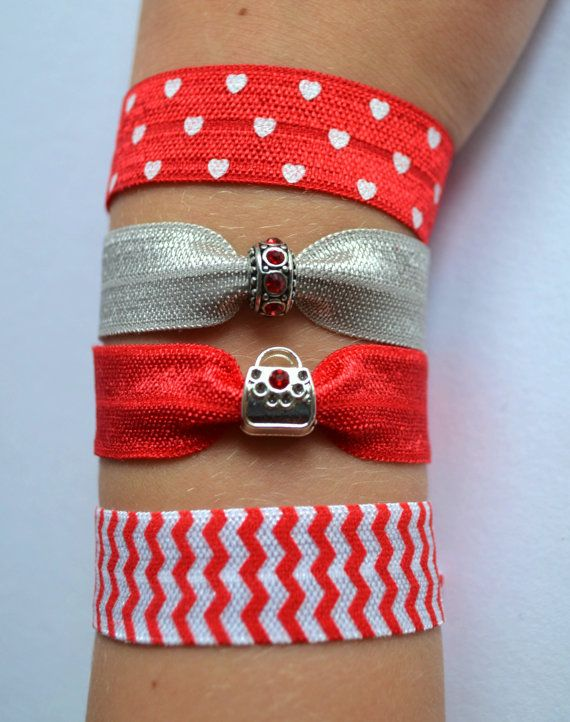 Fold over elastic hair ties, collection of red colors with sweet purse charm. Creaseless hair tie, yoga ties, charm bracelet, back to school