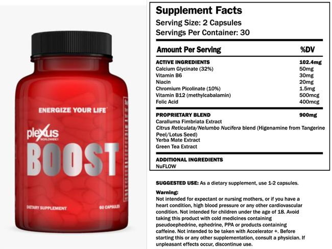 Plexus Boost Plexus boost is a thermogenic that helps enhance energy, curb hunger, and promote weightloss. Here are a list of the ingredients: Calcium Glycinate: When low fat calcium was added to t...
