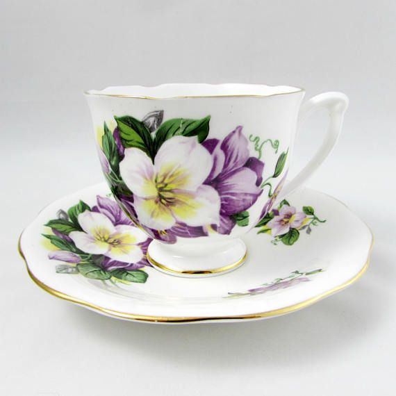 Queen Anne Tea Cup and Saucer with Purple and White Flowers, Vintage, Fine Bone China