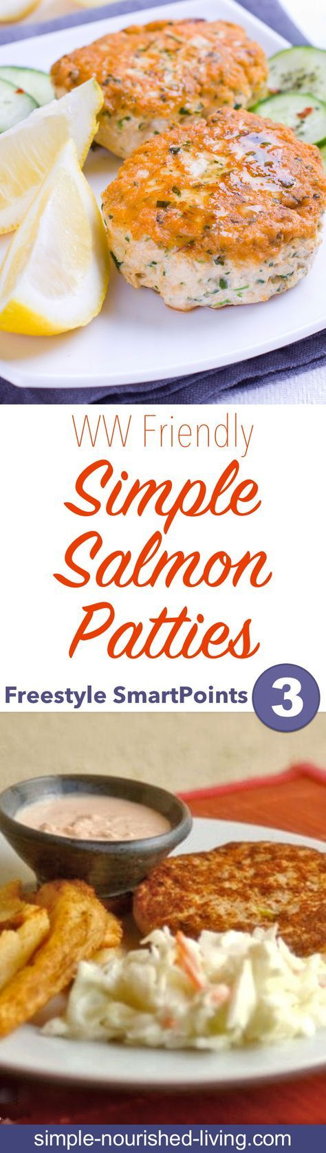 Weight Watchers Recipe of the Day: Quick & Easy Salmon Patties - I made these simple salmon patties for dinner recently. They were a hit. 3 WW Freestyle SmartPoints each - Simple-Nourished-Living.com!