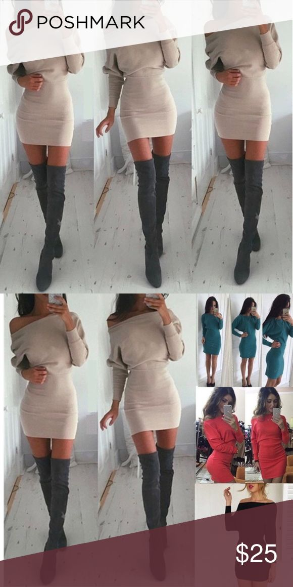 | CREAM COLORED FALL MINI DRESS | -unbranded -never worn -firm price -❌trades❌ TAGS/ Cream. Beige. Mini dress. Cozy  *Additional measurements given upon request. If you have any additional questions ask at your discretion I'd be happy to answer them all :)* Dresses Mini