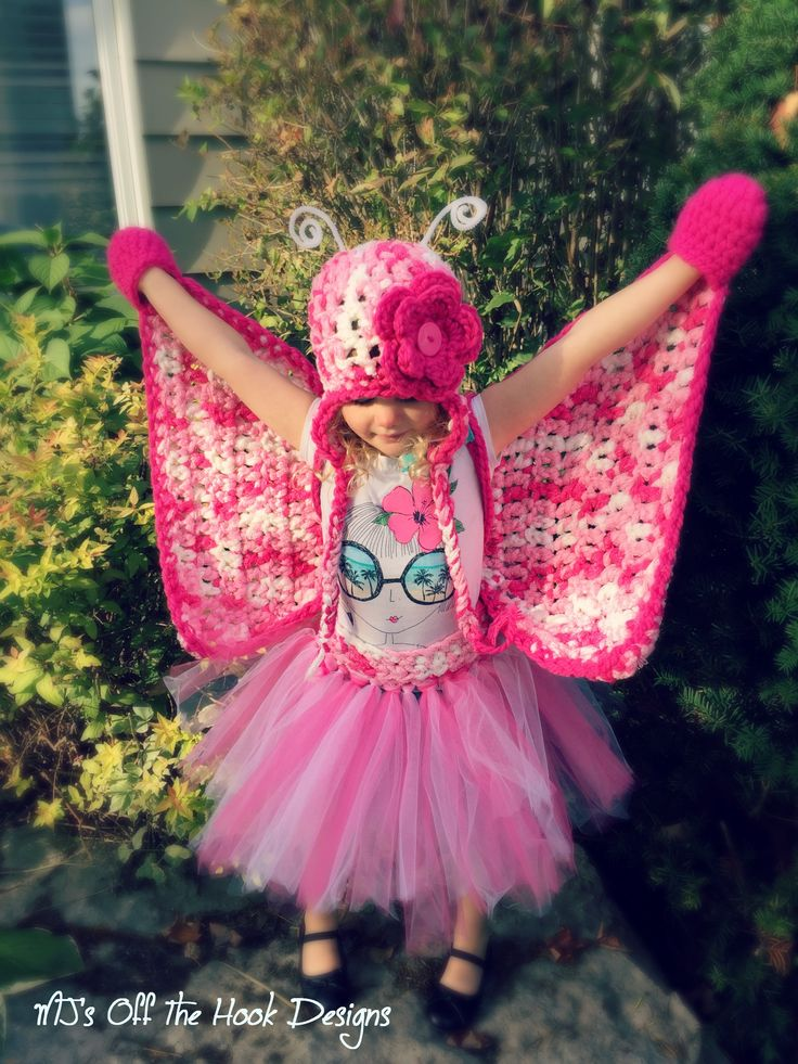 Fast and Easy crochet butterfly costume!  This is a free pattern and comes with a video tutorial on my Youtube channel!  This is a Bulky & Quick design made with a Q hook!