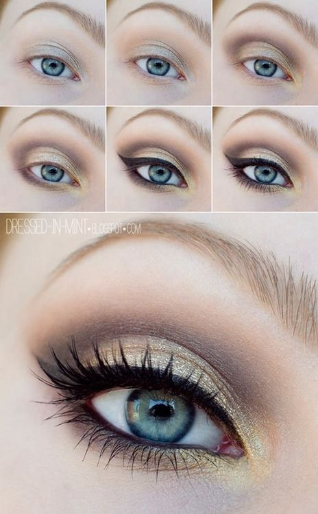 Golden brown eye makeup for blue eyes #tutorial #Eye Makeup. I think this would look great with someone who has brown eyes too.