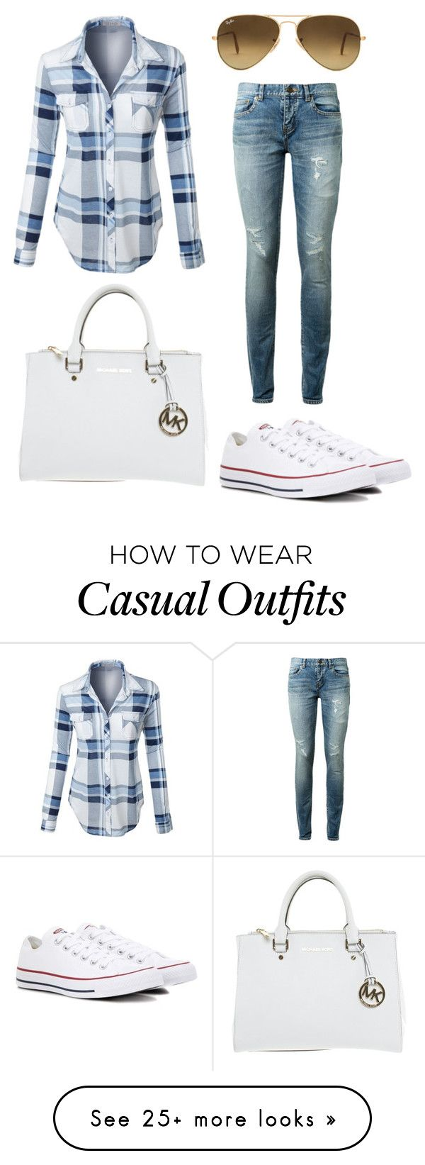 """""""Casual Mom!"""" by ttreenuh on Polyvore featuring Ray-Ban, LE3NO, Yves Saint Laurent, Converse and Michael Kors"""