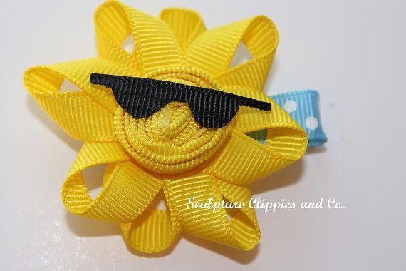 Sculpture Clippie's Original Design.  Yellow Sun with Sunglasses Sculpture Ribbon Hair Clip.  Free Ship Promo.: Hairbows, Craft, Hair Clips, Hairs, Ribbons, Hair Bows, Hairclips, Ribbon Sculpture, Sun