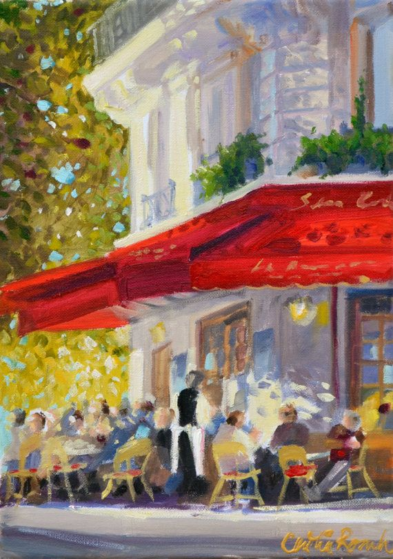 Parisian Cafe Art Print Of Original Oil Painting French