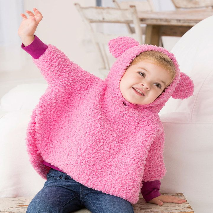 Playful Hooded Poncho | Red Heart | Baby knitting patterns ...